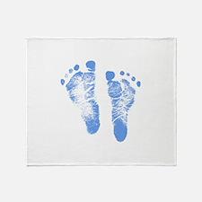 Baby Boy Footprints Throw Blanket