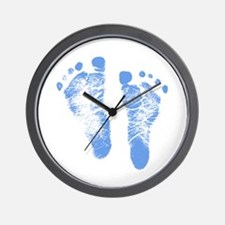Baby Boy Footprints Wall Clock