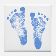 Baby Boy Footprints Tile Coaster