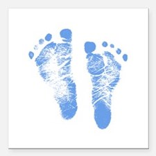 "Baby Boy Footprints Square Car Magnet 3"" x 3"""