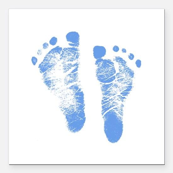 "Baby Boy Footprints Square Car Magnet 3"" x 3"""