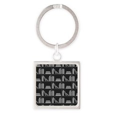 Books on Bookshelf, Gray. Square Keychain