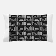 Books on Bookshelf, Gray. Pillow Case