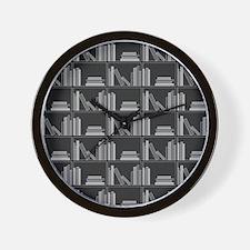 Books on Bookshelf, Gray. Wall Clock