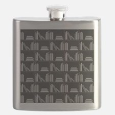 Books on Bookshelf, Gray. Flask