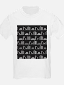 Books on Bookshelf, Gray. T-Shirt