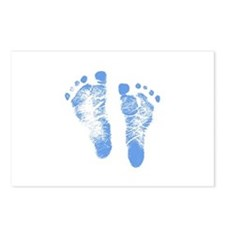 Baby Boy Footprints Postcards (Package of 8)