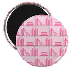Books on Bookshelf, Pink. Magnet