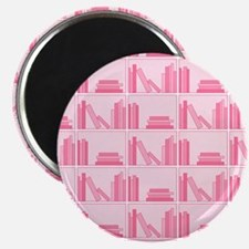 Books on Bookshelf, Pink. Magnet
