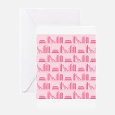 Books on Bookshelf, Pink. Greeting Card