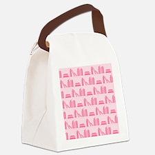 Books on Bookshelf, Pink. Canvas Lunch Bag