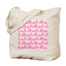 Books on Bookshelf, Pink. Tote Bag