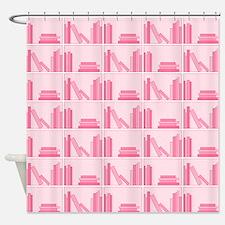 Books on Bookshelf, Pink. Shower Curtain