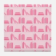 Books on Bookshelf, Pink. Tile Coaster