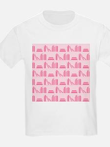 Books on Bookshelf, Pink. T-Shirt