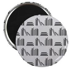 """Books on Bookshelf, Gray. 2.25"""" Magnet (100 pack)"""