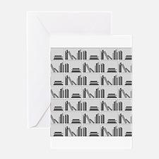 Books on Bookshelf, Gray. Greeting Card
