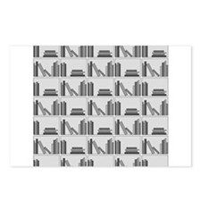Books on Bookshelf, Gray. Postcards (Package of 8)