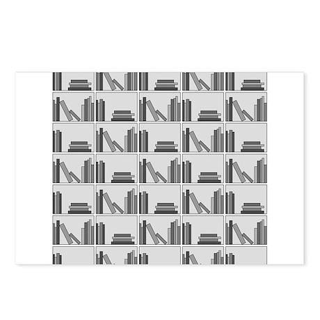Books on Bookshelf, Gray. Postcards (Package of 8)