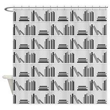 Books on Bookshelf, Gray. Shower Curtain