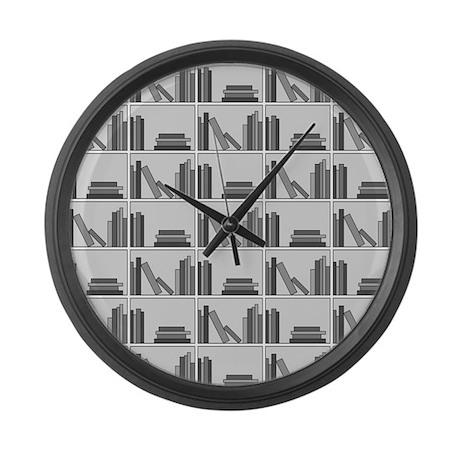 Books on Bookshelf, Gray. Large Wall Clock