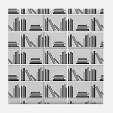 Books on Bookshelf, Gray. Tile Coaster