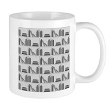 Books on Bookshelf, Gray. Mug