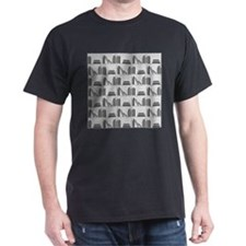 Books on Bookshelf, Gray. T-Shirt