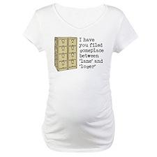 Filed Between Lame And Loser Funny T-Shirt Materni