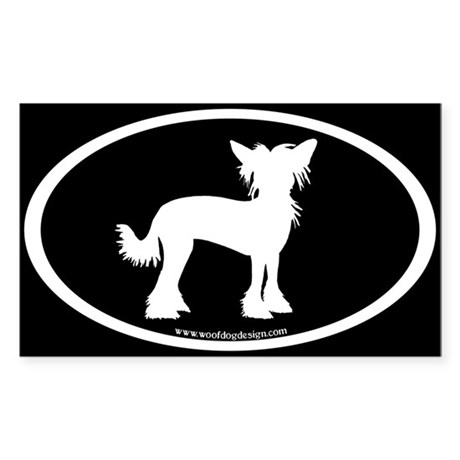 Chinese Crested Oval (white on blk) Oval Sticker
