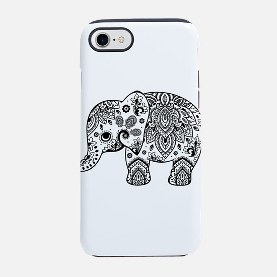 Black Floral Paisley Elephant iPhone 7 Tough Case