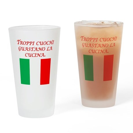 Italian Proverb Too Many Cooks Drinking Glass
