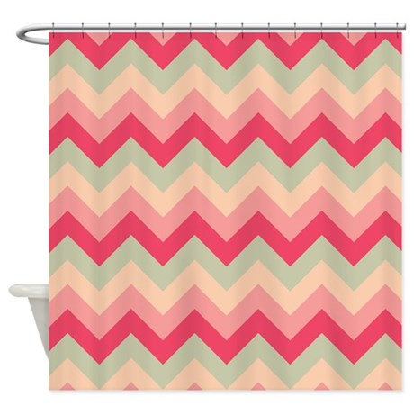 pink and green zigzag shower curtain by zandiepants