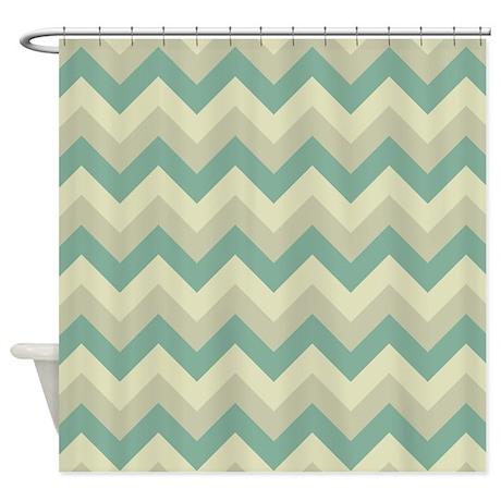 Vintage green zigzag pattern shower curtain by zandiepants - Green curtain patterns ...