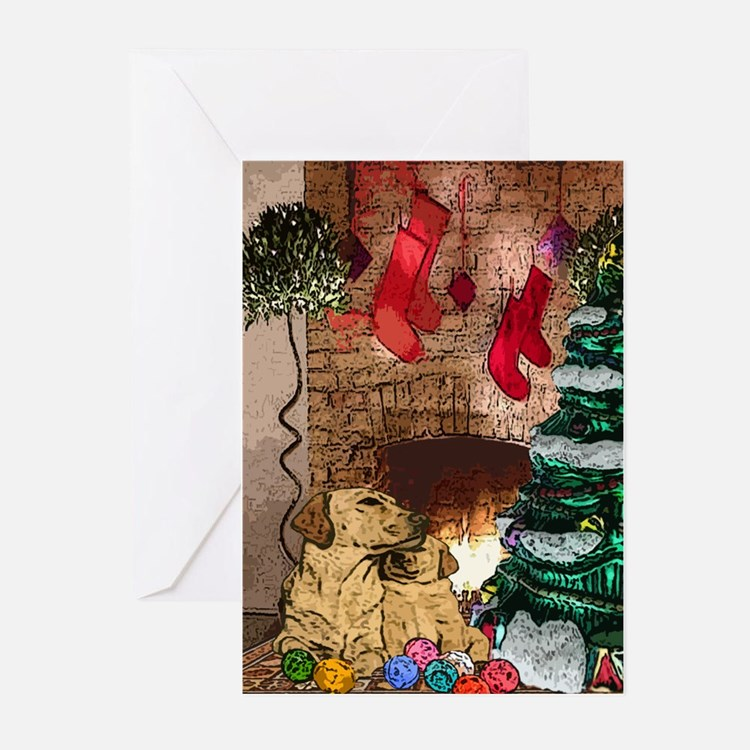 Labrador Christmas Tree Greeting Cards (Package of