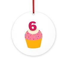 6th Birthday Cupcake Ornament (Round)