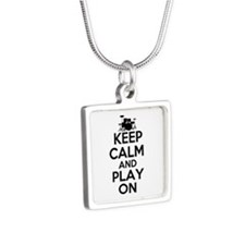 Keep Calm and Play On Silver Square Necklace