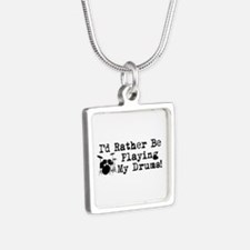 Id Rather Be Playing My Drums Silver Square Neckla