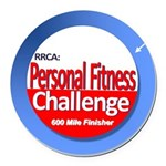 600 Mile Personal Fitness Round Car Magnet