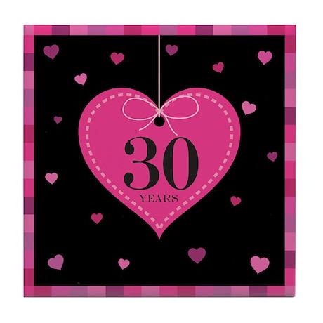 30th Anniversary Heart Tile Coaster