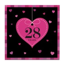 28th Anniversary Heart Tile Coaster