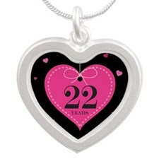 22nd Anniversary Heart Silver Heart Necklace