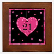 21st Anniversary Heart Framed Tile
