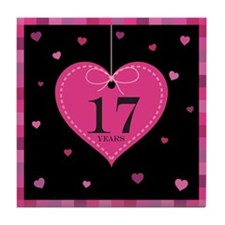 17th Anniversary Heart Tile Coaster
