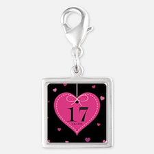 17th Anniversary Heart Silver Square Charm