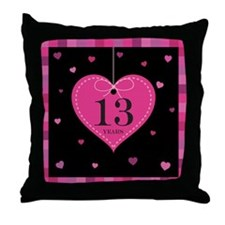13th Anniversary Heart Throw Pillow
