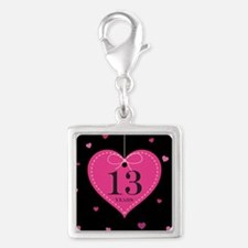 13th Anniversary Heart Silver Square Charm