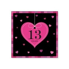 "13th Anniversary Heart Square Sticker 3"" x 3"""