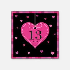 """13th Anniversary Heart Square Sticker 3"""" x 3"""""""