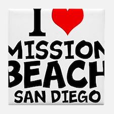 I Love Mission Beach, San Diego Tile Coaster